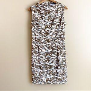 JUDE CONNALLY sleeveless sheath dress brown zebra